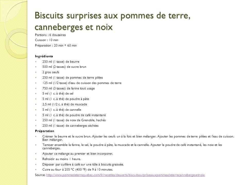 Biscuits surprises aux pommes de terre, canneberges et noix