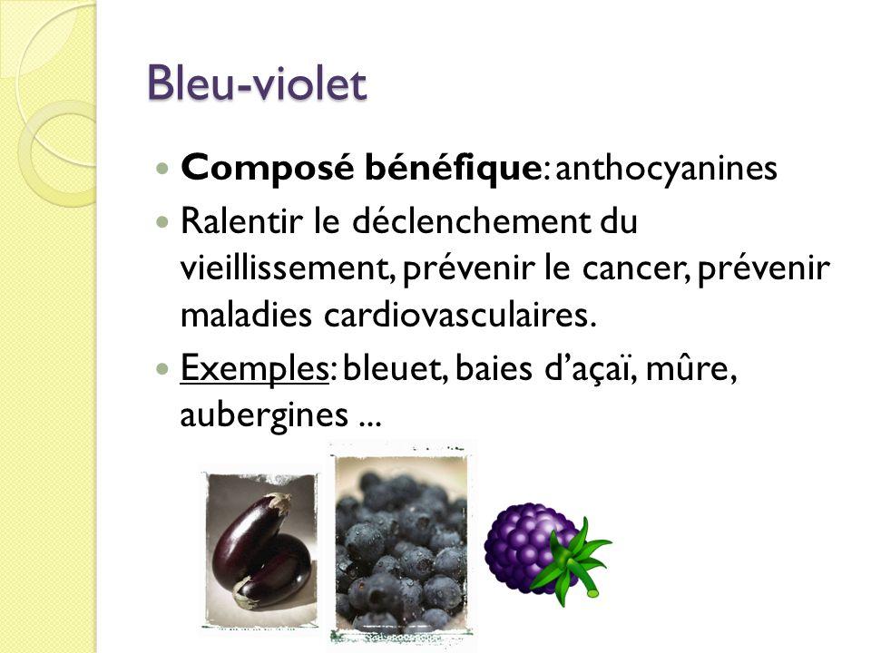 Bleu-violet Composé bénéfique: anthocyanines