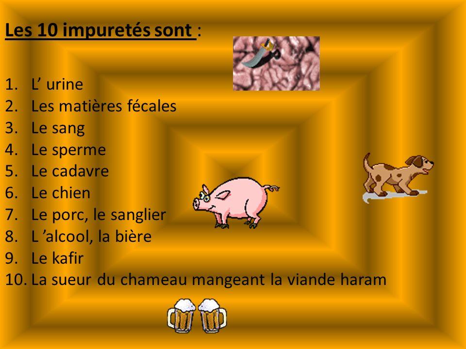 Les 10 impuretés sont : L' urine Les matières fécales Le sang