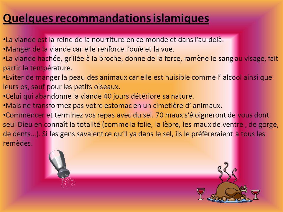 Quelques recommandations islamiques