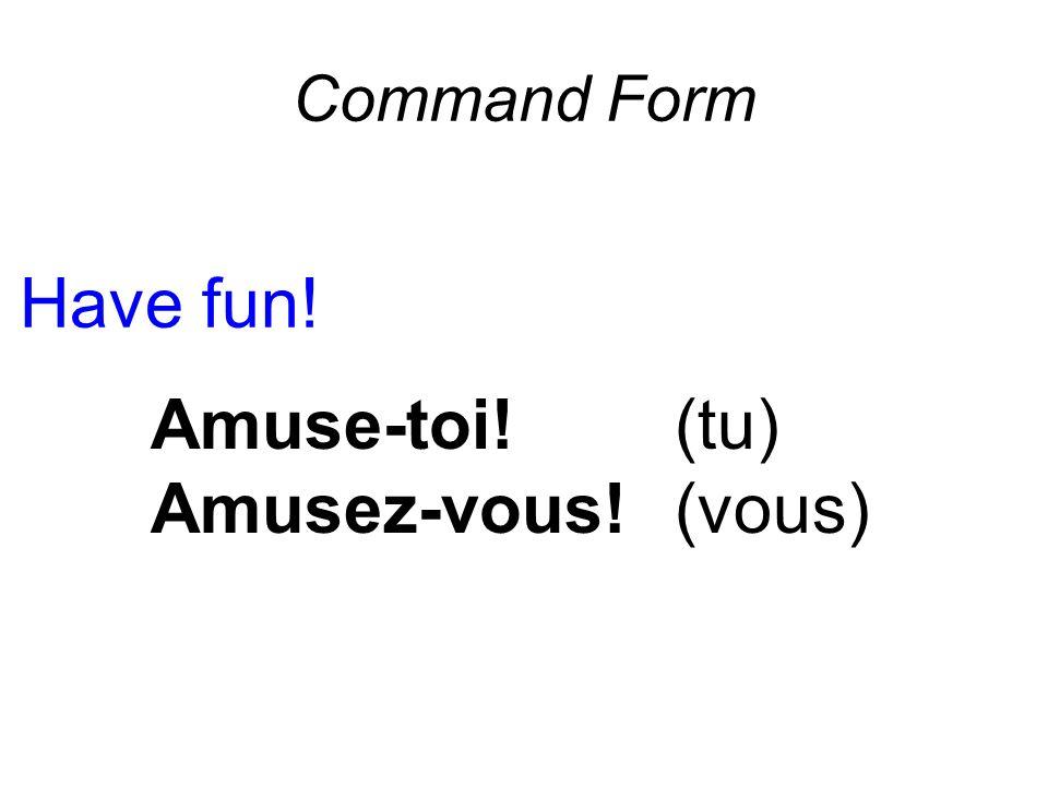 Command Form Have fun! Amuse-toi! (tu) Amusez-vous! (vous)