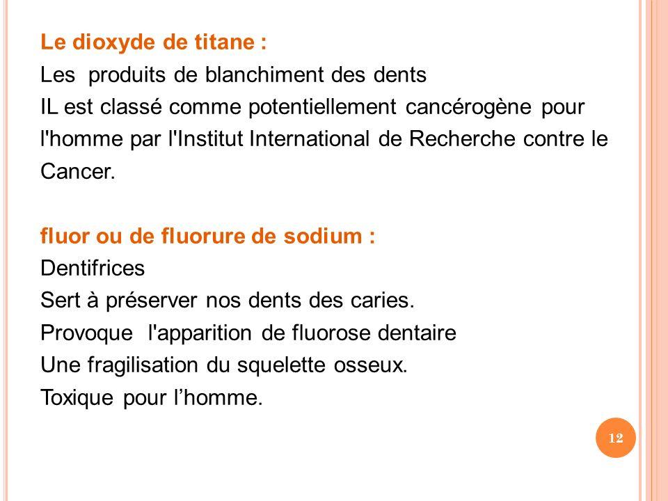 Le dioxyde de titane : Les produits de blanchiment des dents. IL est classé comme potentiellement cancérogène pour.