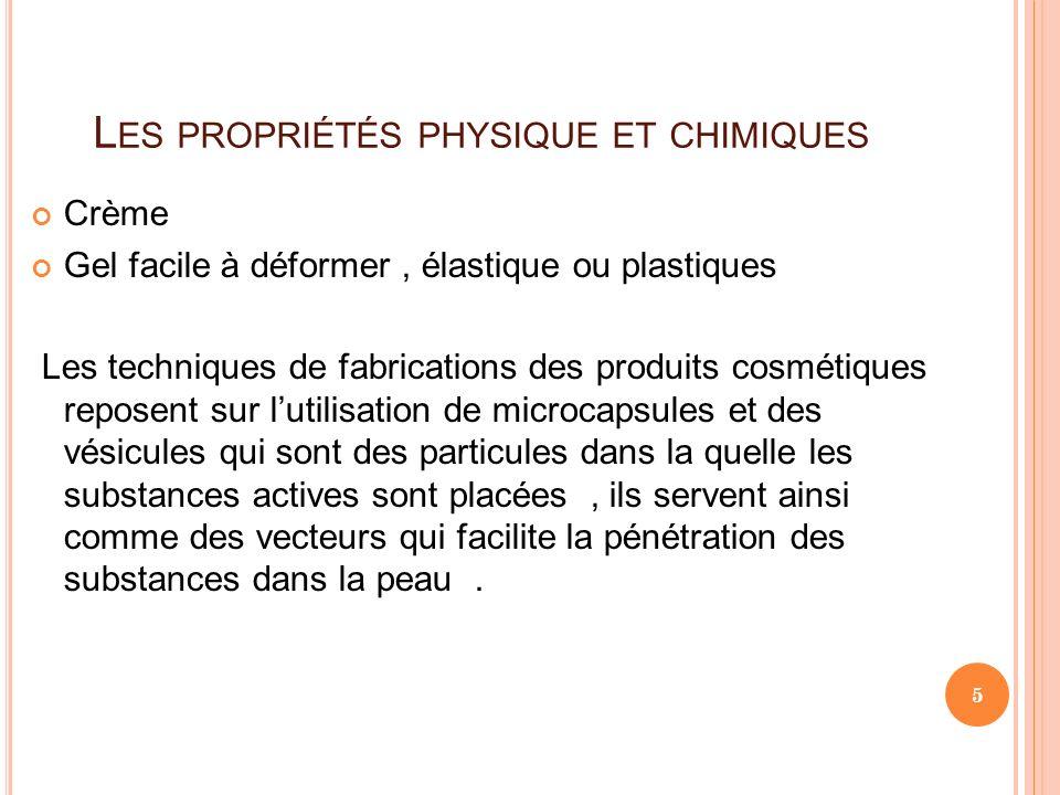 Les propriétés physique et chimiques