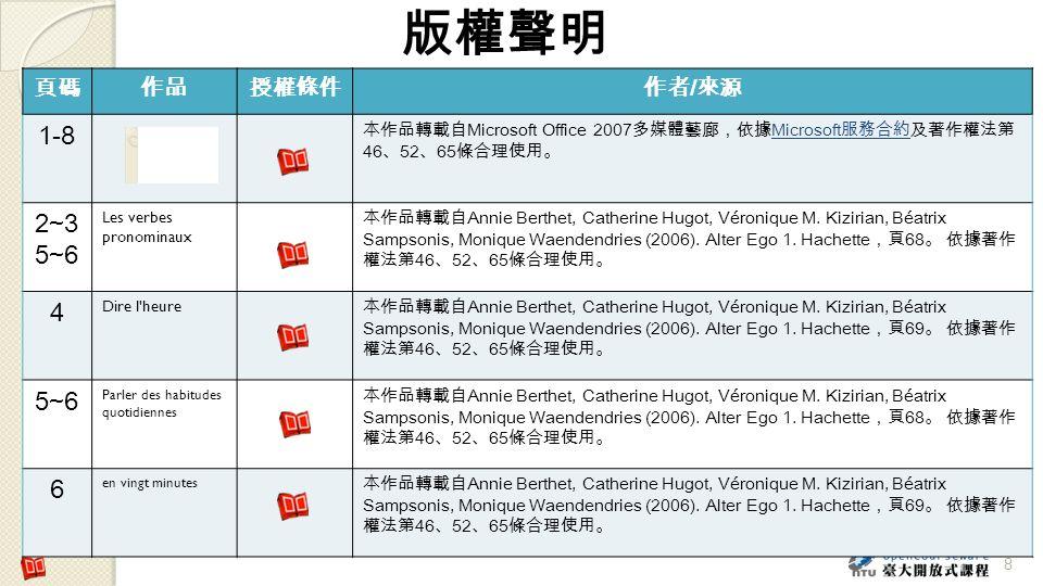 版權聲明 1-8 2~3 5~6 4 6 頁碼 作品 授權條件 作者/來源