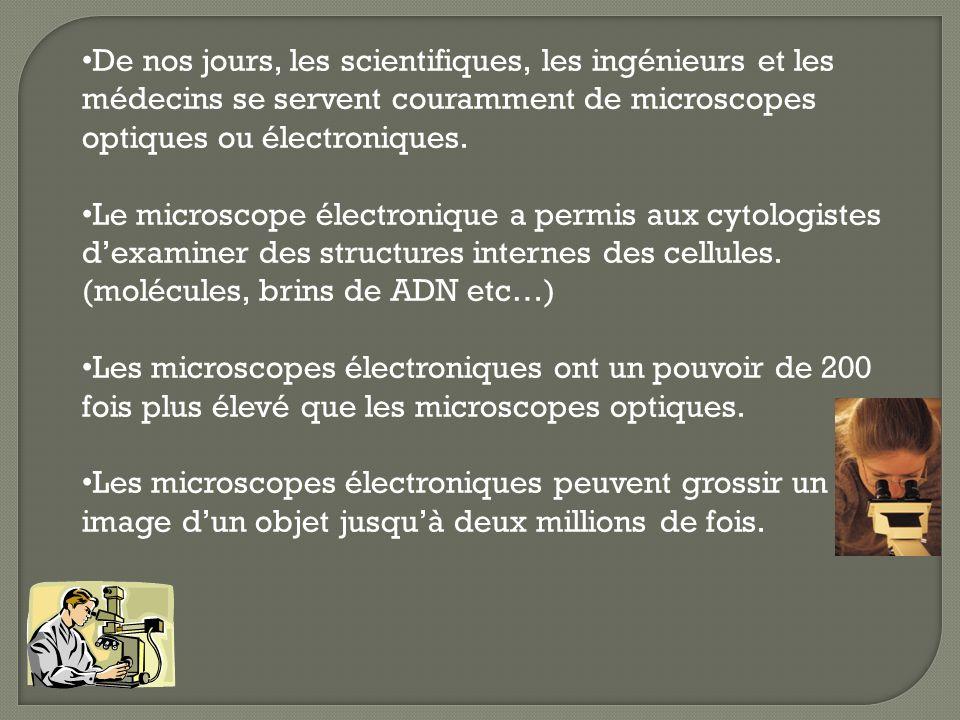 De nos jours, les scientifiques, les ingénieurs et les médecins se servent couramment de microscopes optiques ou électroniques.