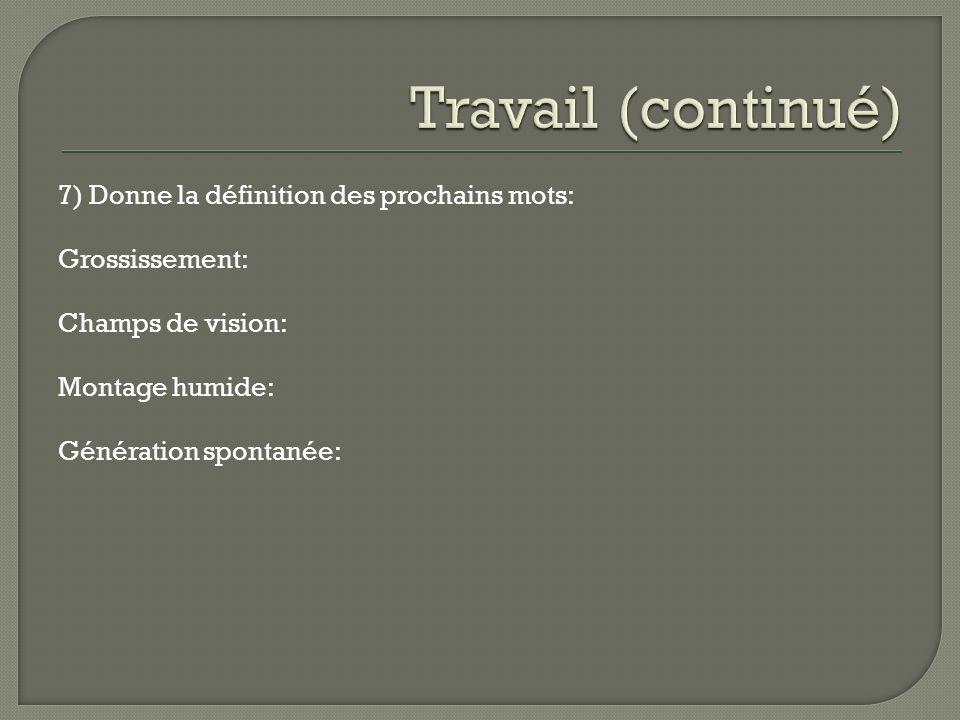 Travail (continué) 7) Donne la définition des prochains mots: Grossissement: Champs de vision: Montage humide: Génération spontanée: