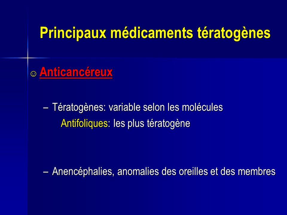 Principaux médicaments tératogènes