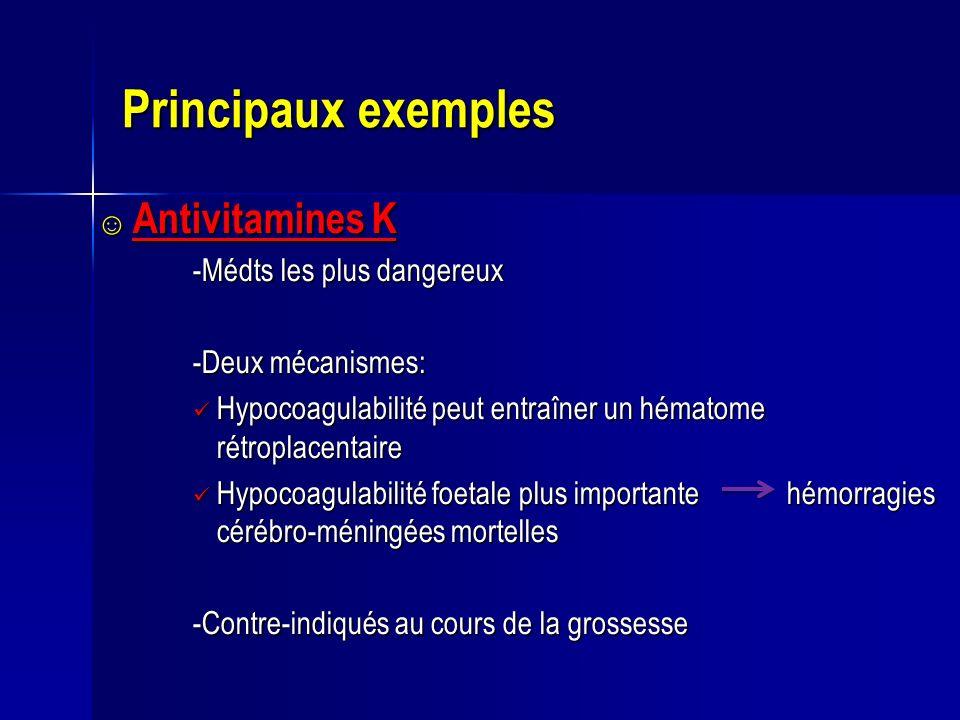 Principaux exemples Antivitamines K -Médts les plus dangereux