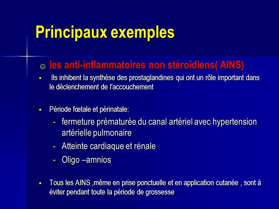 Principaux exemples les anti-inflammatoires non stéroïdiens( AINS)