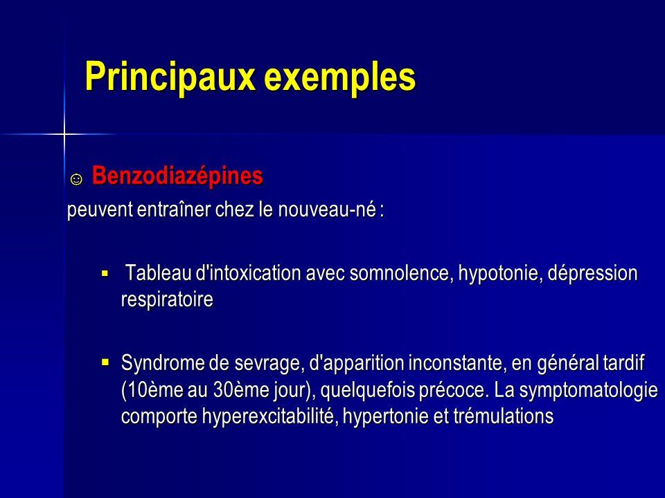 Principaux exemples Benzodiazépines