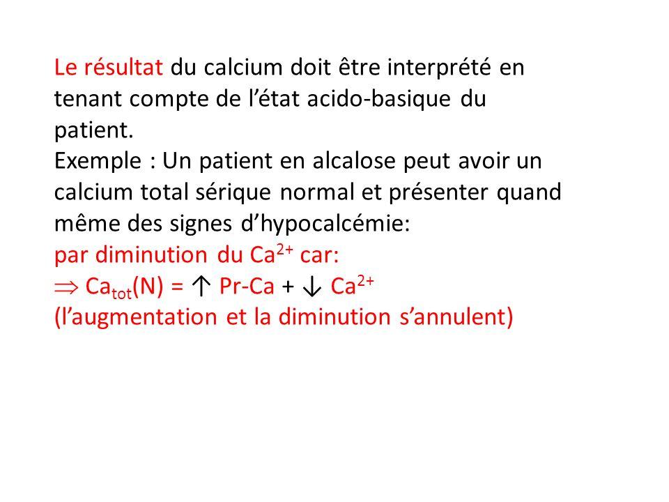 Le résultat du calcium doit être interprété en tenant compte de l'état acido-basique du patient.