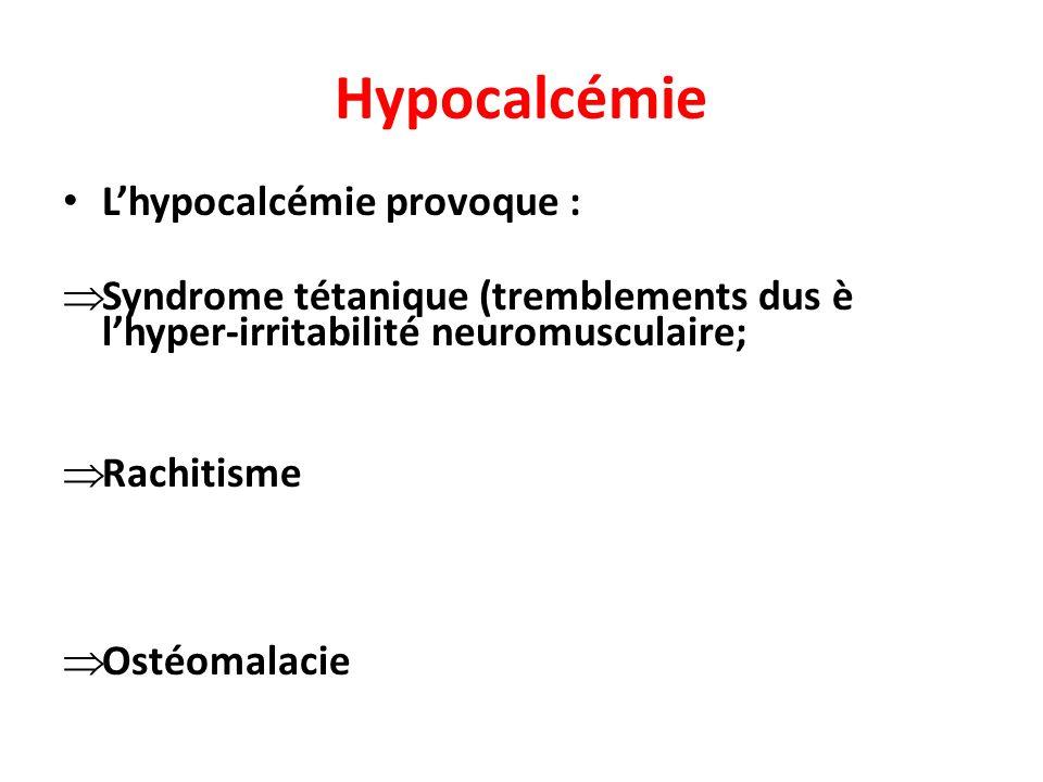 Hypocalcémie L'hypocalcémie provoque :