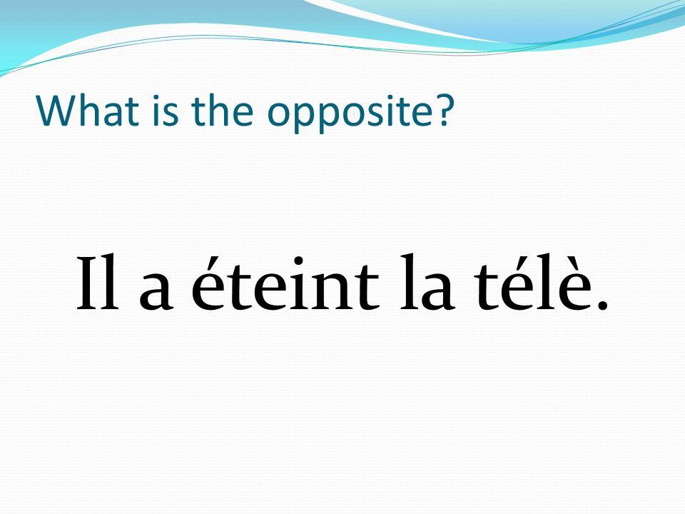 What is the opposite Il a éteint la télè.