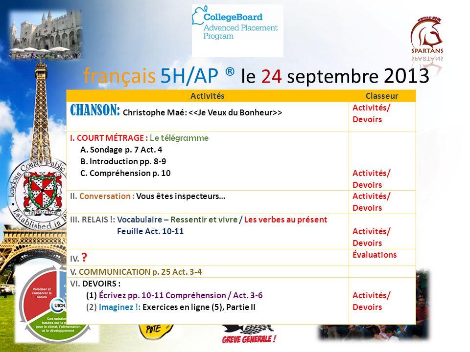 français 5H/AP ® le 24 septembre 2013