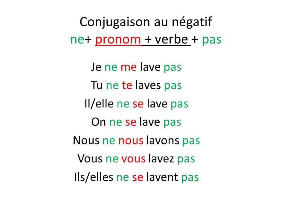 Conjugaison au négatif ne+ pronom + verbe + pas