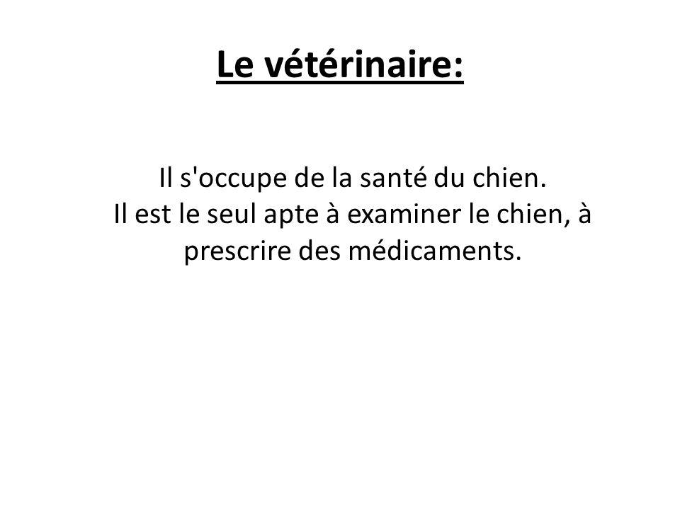 Le vétérinaire: Il s occupe de la santé du chien.