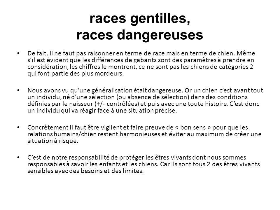 races gentilles, races dangereuses