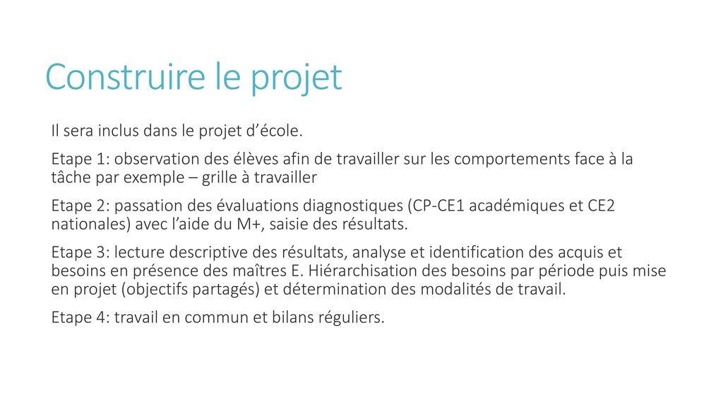 Construire le projet Il sera inclus dans le projet d'école.