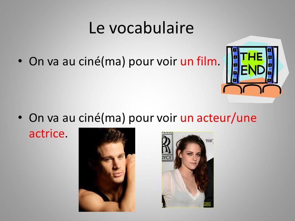 Le vocabulaire On va au ciné(ma) pour voir un film.