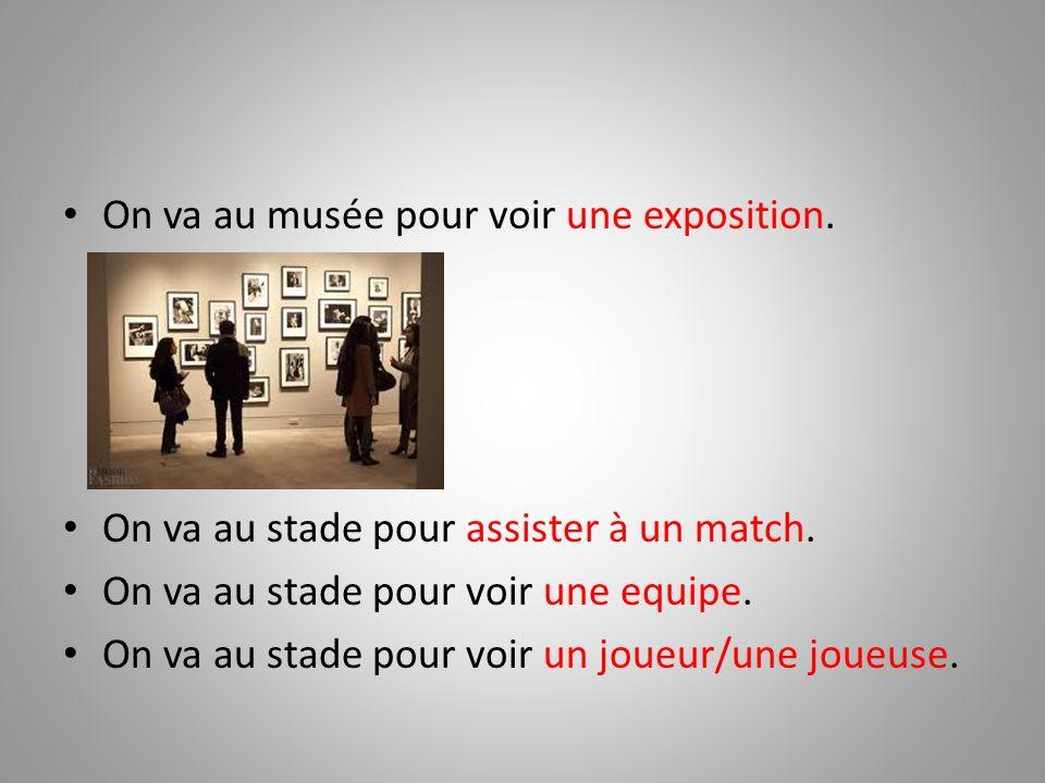 On va au musée pour voir une exposition.