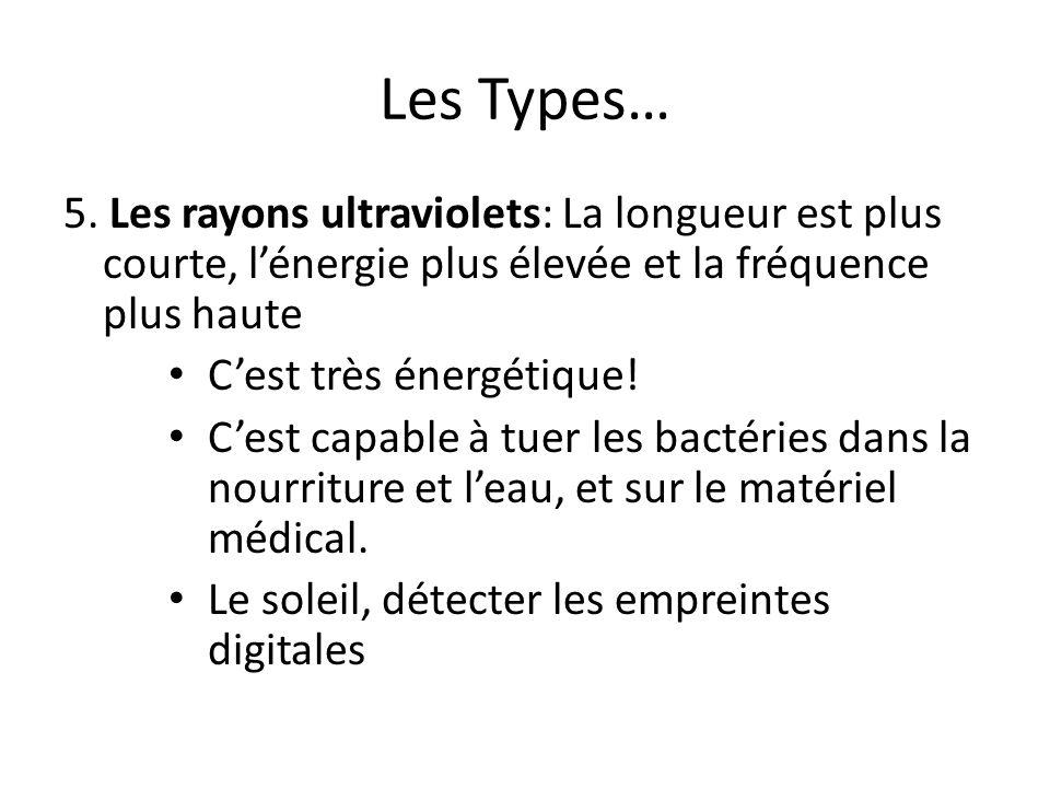 Les Types… 5. Les rayons ultraviolets: La longueur est plus courte, l'énergie plus élevée et la fréquence plus haute.