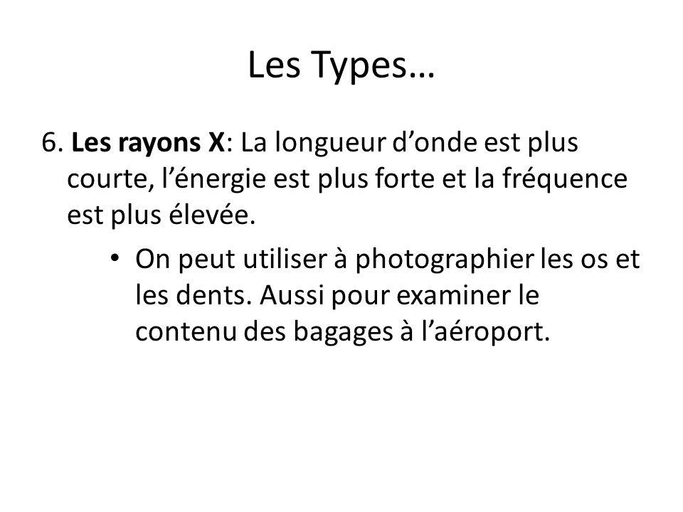 Les Types… 6. Les rayons X: La longueur d'onde est plus courte, l'énergie est plus forte et la fréquence est plus élevée.