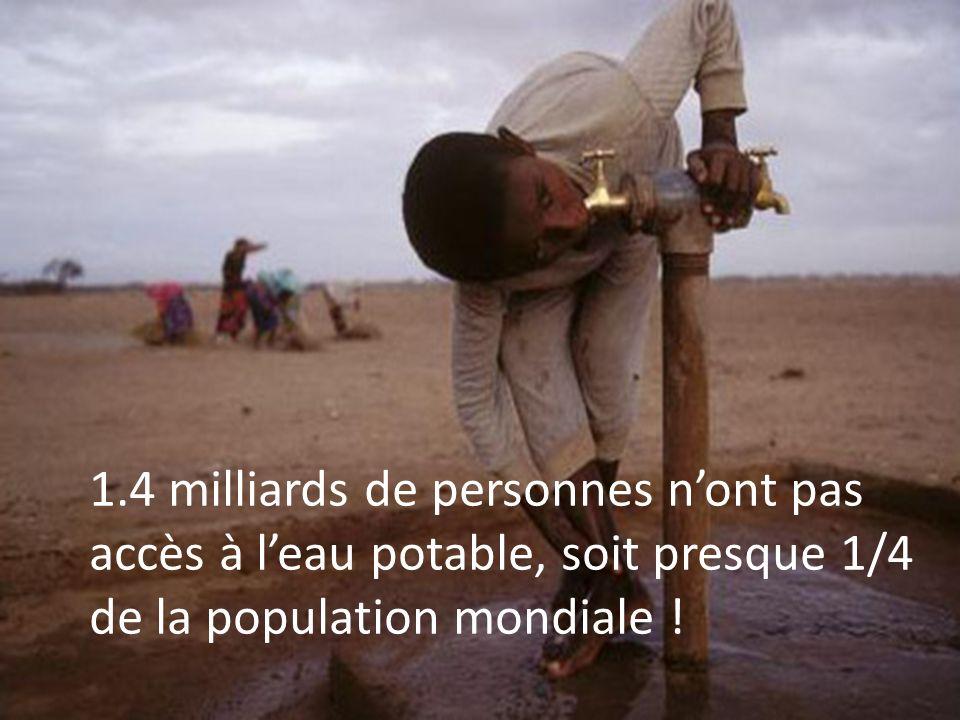 1.4 milliards de personnes n'ont pas accès à l'eau potable, soit presque 1/4 de la population mondiale !
