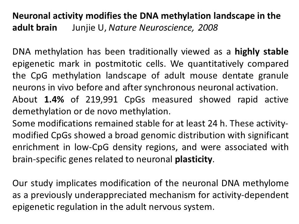 Neuronal activity modifies the DNA methylation landscape in the adult brain Junjie U, Nature Neuroscience, 2008