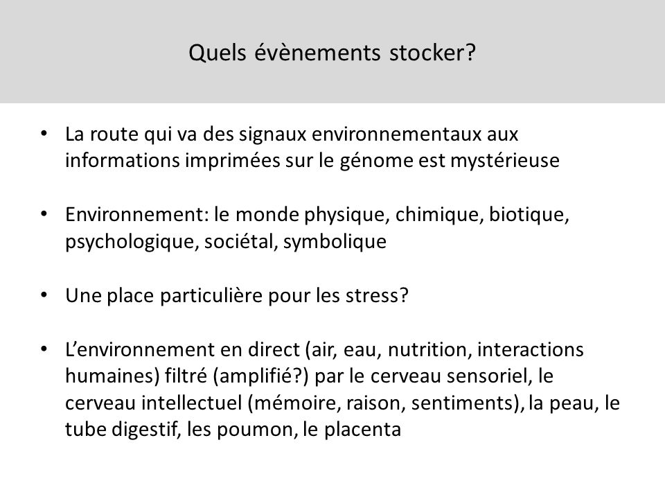 Quels évènements stocker