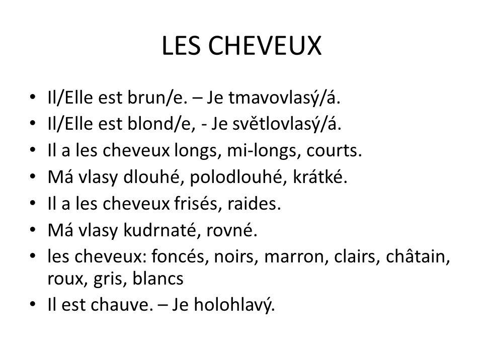LES CHEVEUX Il/Elle est brun/e. – Je tmavovlasý/á.