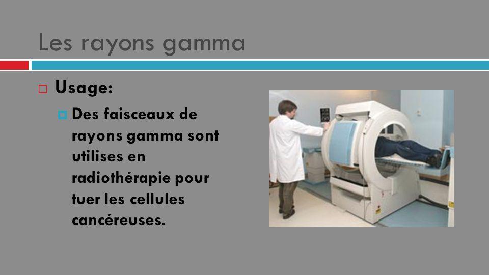 Les rayons gamma Usage: