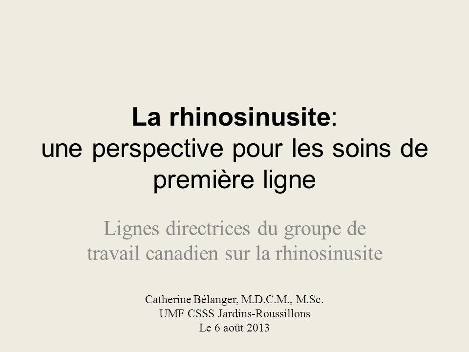 La rhinosinusite: une perspective pour les soins de première ligne