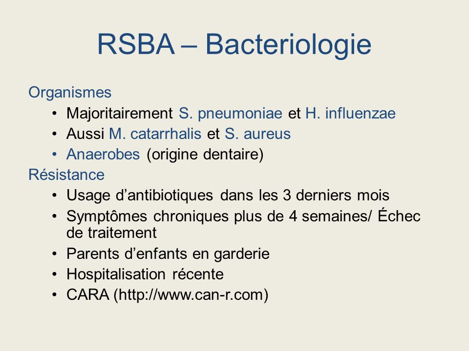 RSBA – Bacteriologie Organismes