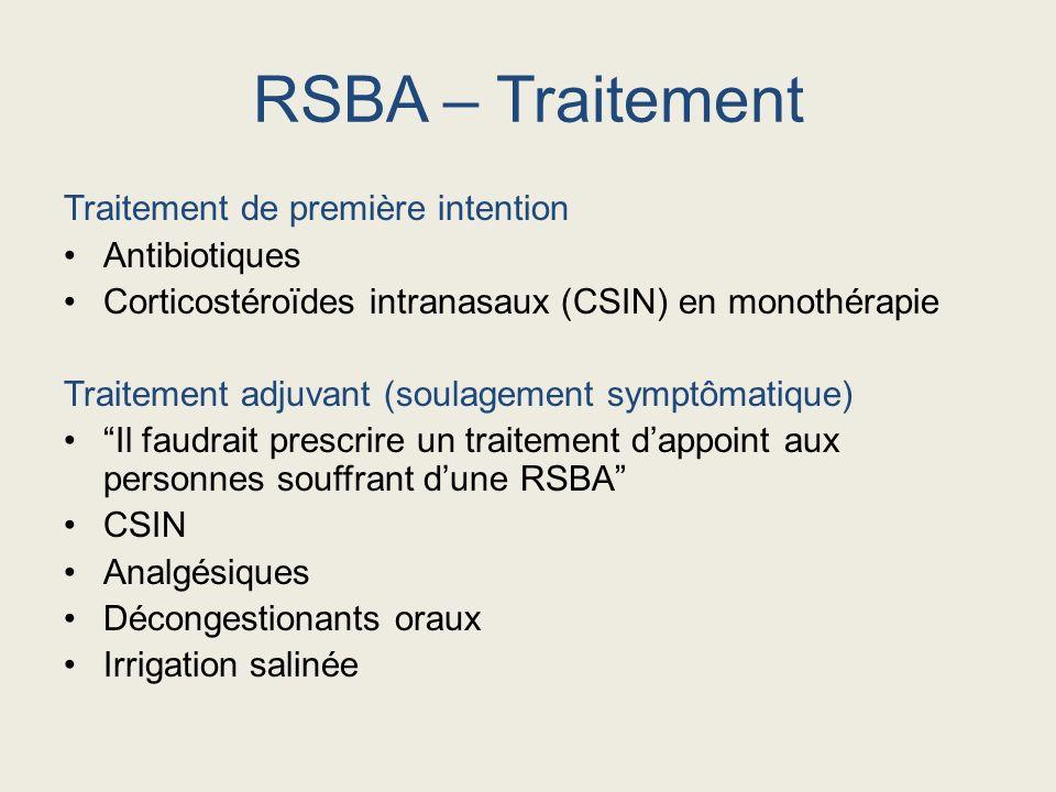 RSBA – Traitement Traitement de première intention Antibiotiques