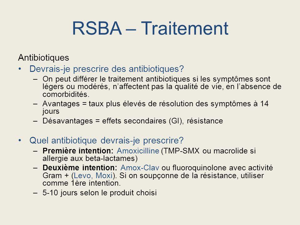 RSBA – Traitement Antibiotiques