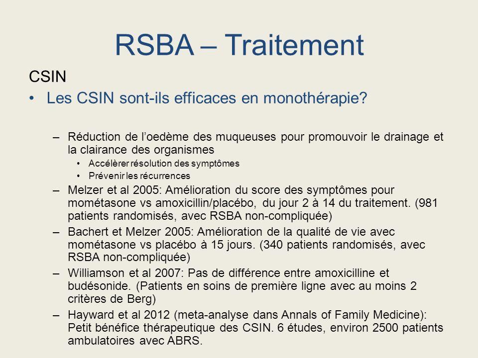 RSBA – Traitement CSIN Les CSIN sont-ils efficaces en monothérapie