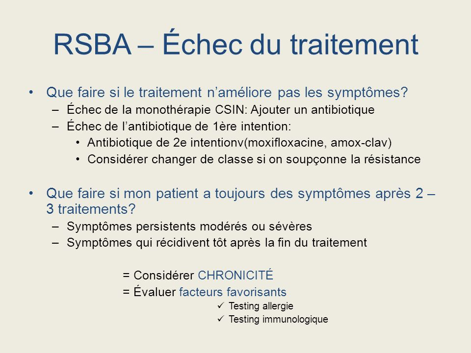 RSBA – Échec du traitement
