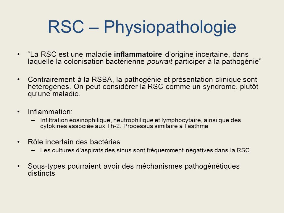 RSC – Physiopathologie
