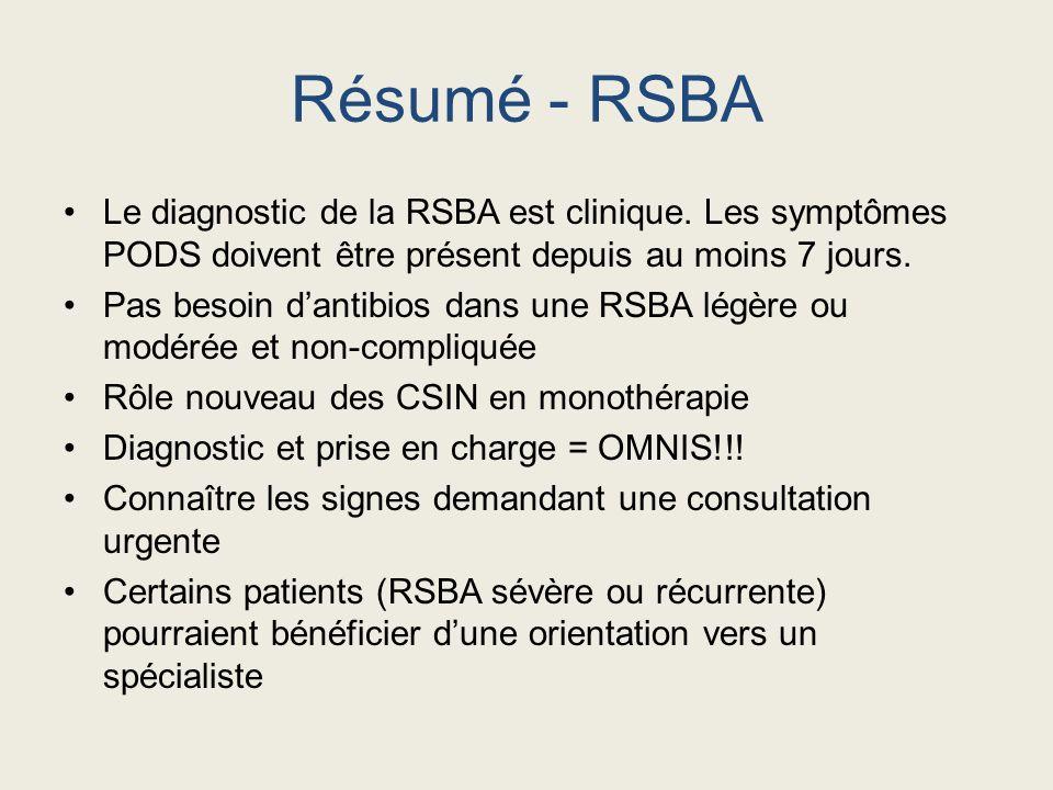 Résumé - RSBA Le diagnostic de la RSBA est clinique. Les symptômes PODS doivent être présent depuis au moins 7 jours.