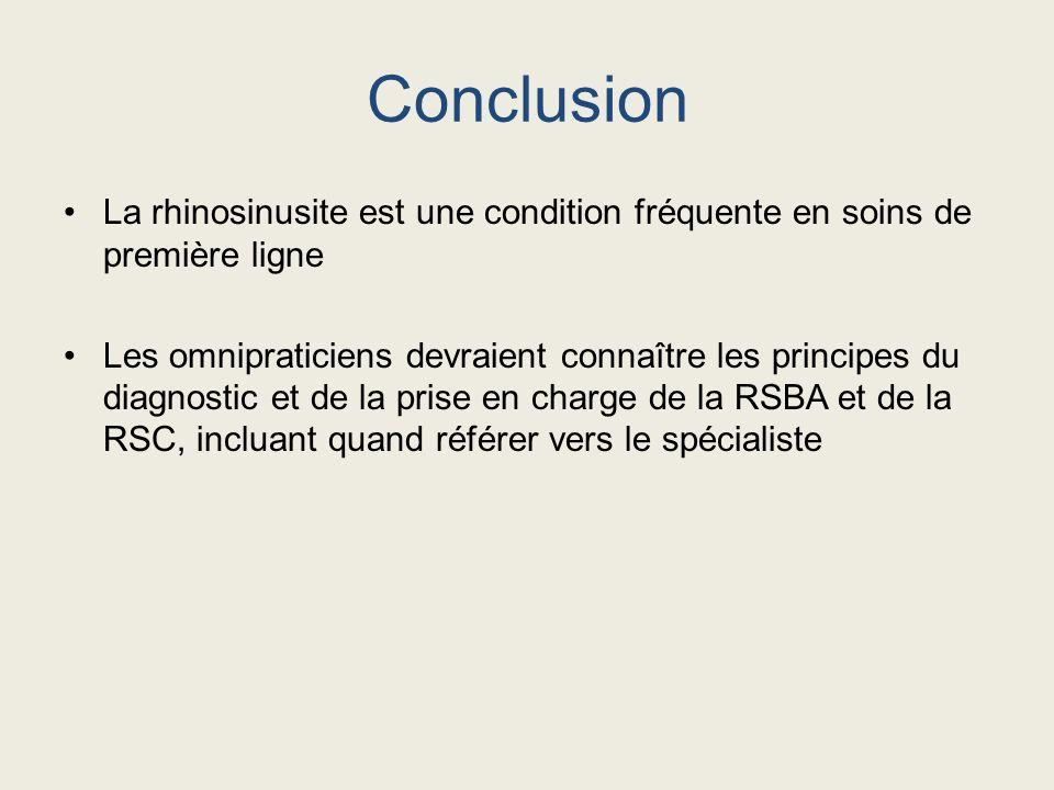 Conclusion La rhinosinusite est une condition fréquente en soins de première ligne.