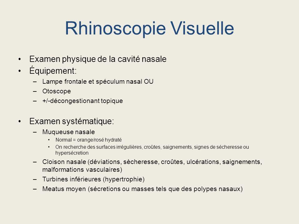Rhinoscopie Visuelle Examen physique de la cavité nasale Équipement: