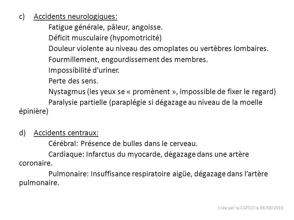 Accidents neurologiques: Fatigue générale, pâleur, angoisse.