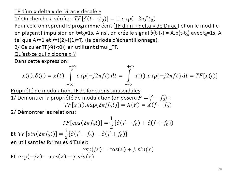 TF d'un « delta » de Dirac « décalé »