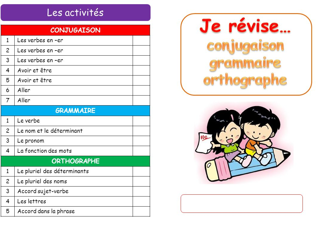 Je révise… conjugaison grammaire orthographe Les activités CONJUGAISON