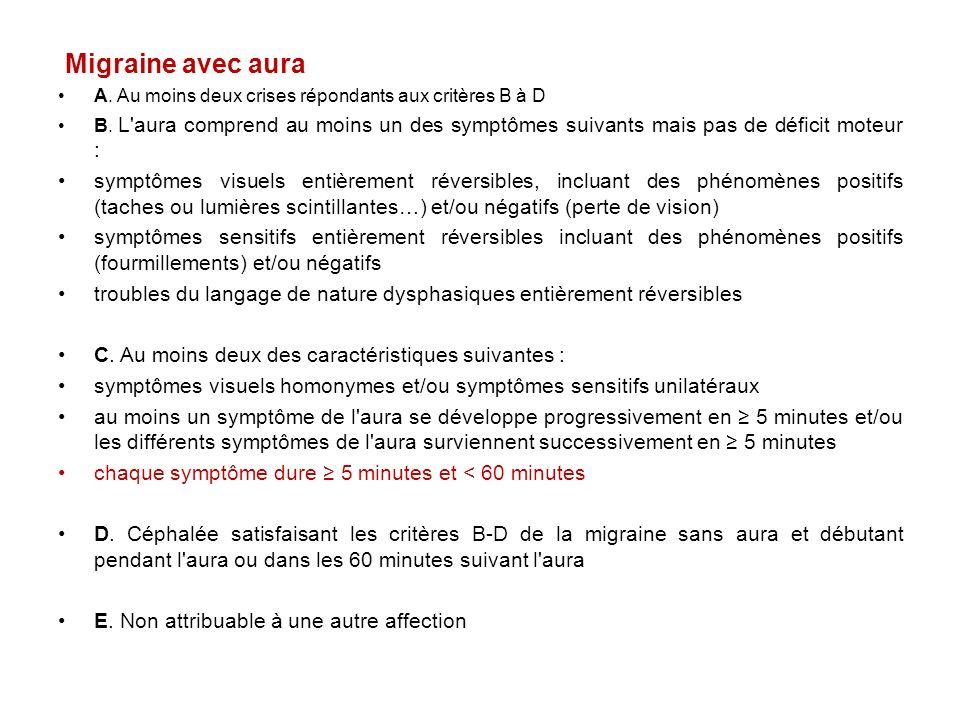 Migraine avec aura A. Au moins deux crises répondants aux critères B à D.