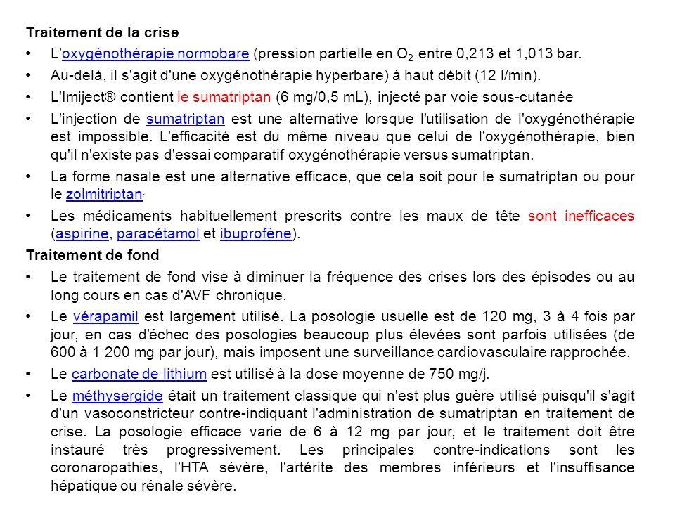 Traitement de la crise L oxygénothérapie normobare (pression partielle en O2 entre 0,213 et 1,013 bar.