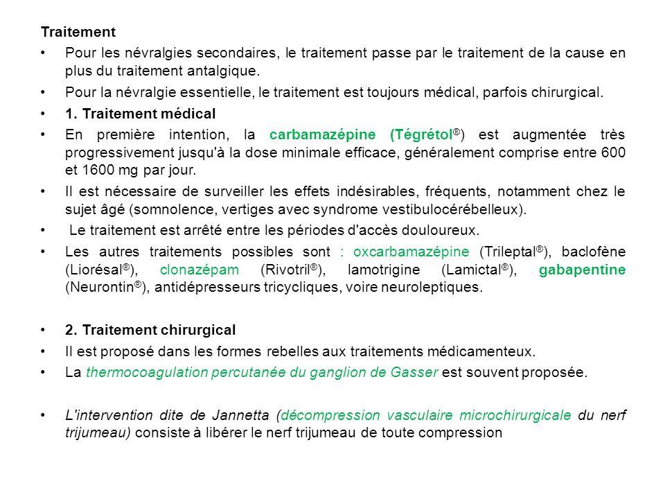 Traitement Pour les névralgies secondaires, le traitement passe par le traitement de la cause en plus du traitement antalgique.