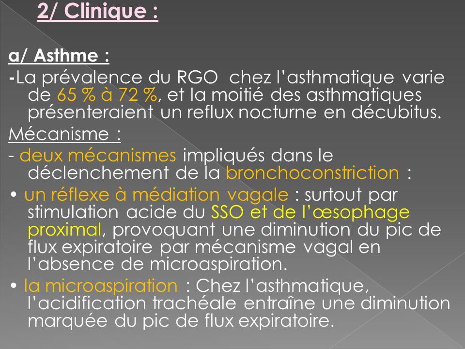 2/ Clinique : a/ Asthme :