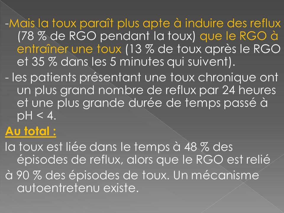 -Mais la toux paraît plus apte à induire des reflux (78 % de RGO pendant la toux) que le RGO à entraîner une toux (13 % de toux après le RGO et 35 % dans les 5 minutes qui suivent).