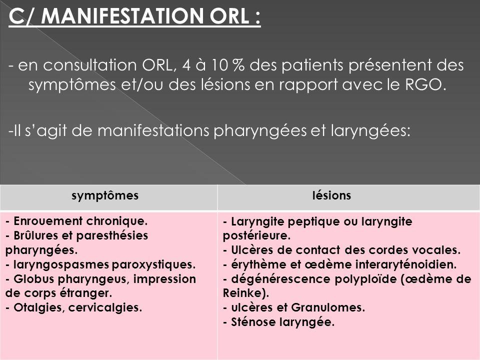 C/ MANIFESTATION ORL : - en consultation ORL, 4 à 10 % des patients présentent des symptômes et/ou des lésions en rapport avec le RGO.